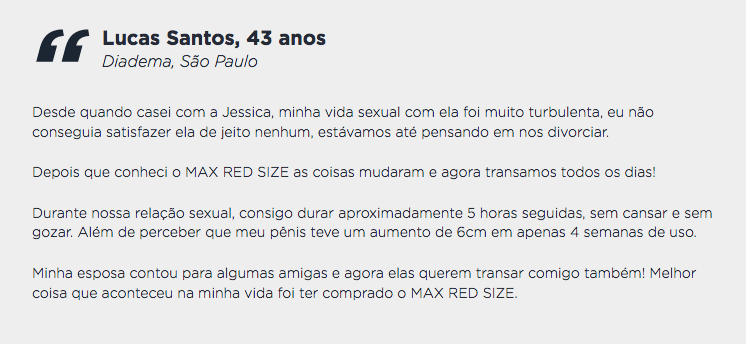 max red size depoimento 1